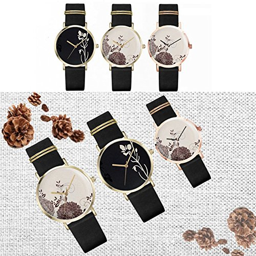 Frauen Uhren einfach Design mit langlebigem Leder Band Analog Casual Kleid Armbanduhr