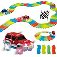 TRENDBUY™ Magic Race Bend Flex and Glow Tracks-220 Pieces,Plastic Magic 11 Feet Long Flexible Tracks Car Play Set for…