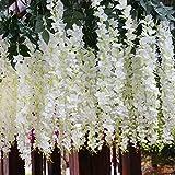 Set de 12 plantas (102 cm) artificiales glicinias de seda colgante para decoración, enredadera de flores colgantes de jardín, para comedor, salón, fiesta o boda, de Calcifer