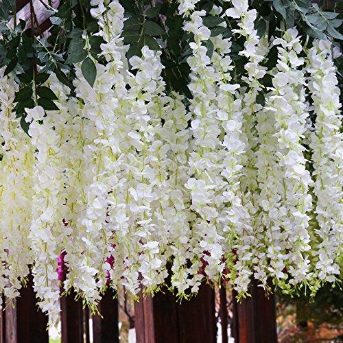 Set 12 plantas 102 cm artificiales glicinias seda