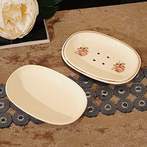 Amgend Europäische Kreative Keramik Abfluss Doppel Seifenkiste Haushalt Badezimmer Hochwertige Seife Porzellan Seifenschale Seifenschale Seifenkiste, Rose Doppelschicht (Abtropfen)