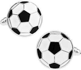 Amaal Men Branded Shirts Blazer Black & White Soccer/Football Cuff Links/Cufflinks for Men Father with Gift Box -CFL-112