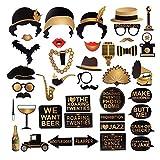 Roaring 20er Jahre Gatsby Themen Photo Booth Requisiten, 20 Geburtstag Party Brautdusche Dekoration Zubehör, 42 Stück