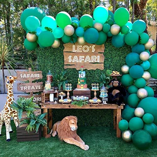 Heboland Safari Dschunge Motto Ballon Girlande Ballonbogen Kit 100 Stück Grün und Gold Ballons5m Lange Ballongirlande für Kinder Jungen Baby Geburtstag Party Deko -