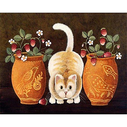 DIY Digital Malen nach Zahlen Codierung Ölgemälde gerahmt mit Box Katze Tiere Home Wand Kunst Bild Acryl auf Leinwand Home Decor 16×20 Zoll Geburtstag Hochzeit Weihnachten Danksagung Geschenk für Kinder und Erwachsene