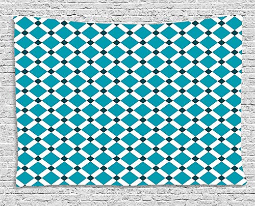 daawqee Teal Tapestry Diagonal Check Classical Pattern Intersecting Lines Rhombus Grid Geometric Design for Living Room Bedroom Dorm 80 W X 60 L Inches Unique Home Decor