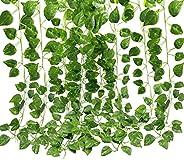 Artificial Ivy, 5 Pcs Fake Vine Green Plant Hanging Leaf Garland for Wedding Party Home Garden Decoration