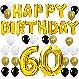 KUNGYO Joyeux Anniversaire Happy Birthday Lettres Ballon+Nombre 60 Mylar Foil Ballon +24 pièces Noir Or Blanc Latex Ballon- Parfait la Décoration de Fête d'anniversaire de 60 Ans