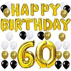 Idea Regalo - KUNGYO Happy Birthday Lettere Alfabeto Balloon+Numero 60 Mylar Foil Palloncini+24 Pezzi Oro Bianco Nero Lattice Balloons- Perfetto per Decorazioni di Festa di Compleanno di 60 Anni