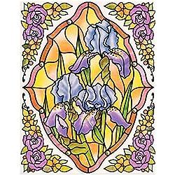 dpr. Fensterbild Set 5-tlg. - Tiffany Optik - Blumen - Iris/Schwertlilie - zart beglimmert - mit Eckbordüren - Fenstersticker Fensterdeko