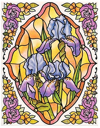 dpr. Fensterbild Set 5-tlg. - Tiffany Optik - Blumen - Iris/Schwertlilie - zart beglimmert - mit Eckbordüren - Fenstersticker Fensterdeko (Iris Tiffany)