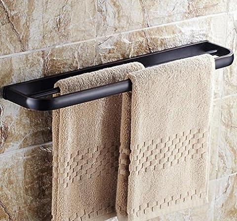 Serviette Barre Serviette Rack Noir antique double barre de salle de bain Serviette Serviette de rack Rack 60cm