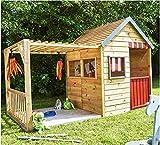 XXL Kinderspielhaus mit Veranda aus Holz großes Spielhaus Gartenhaus für Kinder