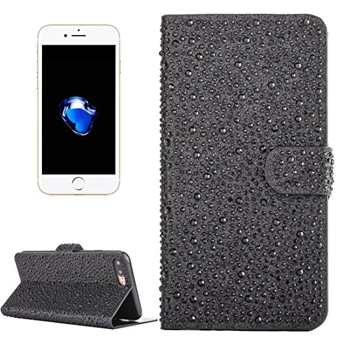 Für iPhone 7 Plus Raindrops Pattern Horizontale Flip Leder Brieftasche Stand Case mit Halter & Card Slots by diebelleu ( Color : Black ) Black