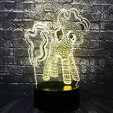 WangZJ Nettes Pony 3d Nachtlicht Led / / Usb Light / 7 Farbe Tischlampe/Weihnachtsgeschenk Led Nachtlicht/Touch-Fernbedienung