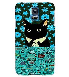 Fuson 3D Printed Cat Designer back case cover for Samsung Galaxy S5 - D4215