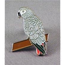 Pin de metal esmaltado, insignia broche pájaro–gris Parrot