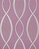 Retro Tapete EDEM 1018-14 Retrotapete Geschwungene Linien mit Ornamenten 70er Retro Style dezent glitzernd violett flieder silber