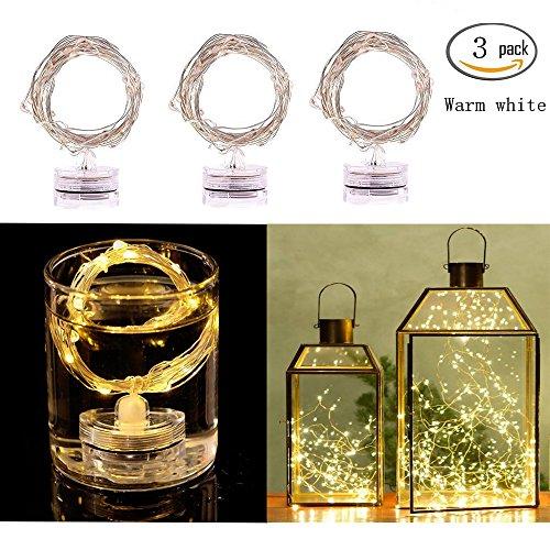 Luci di stringa del LED, lampadine di InteTech 3 Pack Indoor / Outdoor luci del micro LED, 2m / 6.5ft, colore bianco caldo, funzionamento a batteria (non incluso), festa di festa di festa di festa di (Bianco caldo)