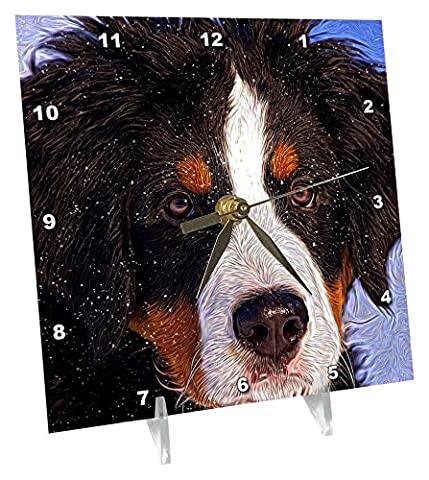3dRose Snow Fall on a Bernese Mountain Dog Painting - Desk Clock, 6 by 6-Inch (dc_212570_1)
