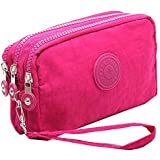 Fueerton Multifunction 3 Layers Zipper Key Card Phone Pouch Coin Money Bag Purse Wallet (Rose)