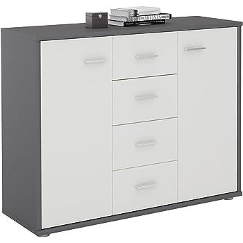 Büromöbel weiß grau  CARO-Möbel Sideboard Jamie Kommode Büromöbel mit 2 Türen und 4 ...