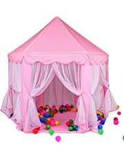 Webby Kids Indoor and Outdoor Castle Play Tent with 30 Balls, (Pink)