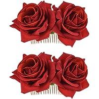 Coucoland Fermaglio per capelli a forma di rosa, per matrimonio, per carnevale 4 pezzi – rosa rossa. Taglia unica