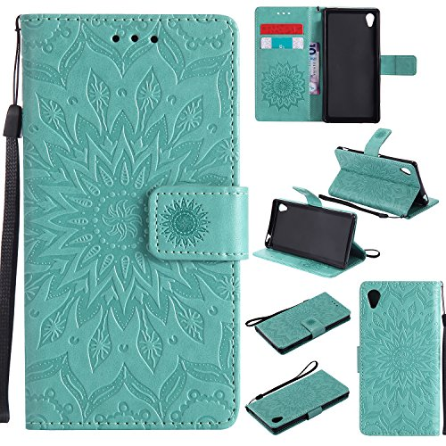 For Sony Xperia M4/M4 Aqua Case [Green],Cozy Hut [Wallet Case] Magnetic Flip Book Style Cover Case ,High Quality Classic New design Sunflower Pattern Design Premium PU Leather Folding Wallet Case With [Lanyard Strap] and [Credit Card Slots] Stand Function Folio Protective Holder Perfect Fit For Sony Xperia M4/M4 Aqua 5,0 inch - green Test