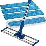 Zflow 18-pollice Manico di Acciaio Senza macchia Microfiber Wet E Scopa Asciutta Con Blocco E 3 Blocchi Bagnati, Blu