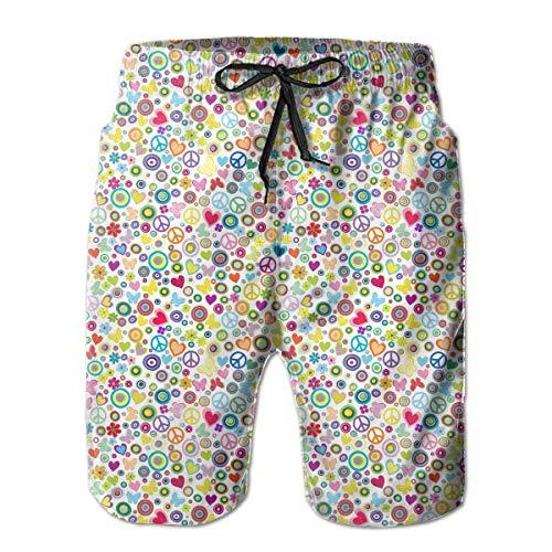 ZKHTO Flowers Peace Signs Pattern Men's Board/Beach Shorts Lightweight Beachwear,Shorts Size M -