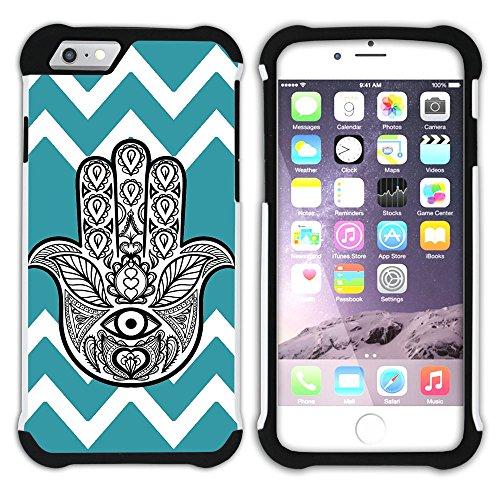 Graphic4You Hamsa Hand der Fatima Winkel Muster (Wasserblau) Hart + Weiche Kratzfeste Hülle Case Schale Tasche Schutzhülle für Apple iPhone 6 / 6S Türkis