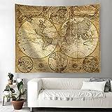 Houlife Weltkarte Tapisserie Groß Schön Decke Strandtuch Tagesdecke Bedeckung Tischdecke Sofaüberwurf Tapestry Wall Blanket Wanddekoration für Zimmer (Muster 4, 150 x 100 cm)