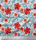 Soimoi Orange Viskose Chiffon Stoff Blumen & Blätter