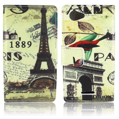Thematys Kunstleder Paris 1889 Design Klapp Stand Schutzhülle für Sony Xperia L