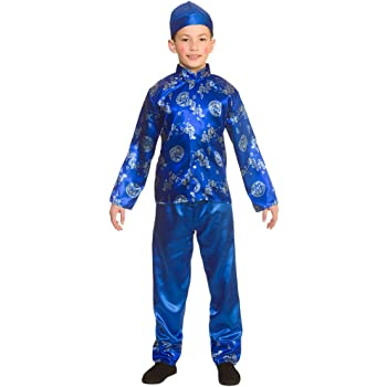 0994122fb6 Boys Chinese Boy Costume Oriental Coolie Asian Thai Fancy Dress Cosplay Age  5-7 Years