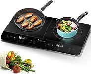 Aobosi plaque de cuisson, table de cuisson à induction double portable, commande par capteur et plateau en verre cristal,Min