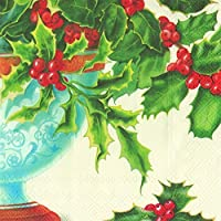 Holly Bowl Cream Christmas Ihr Luxury Traditional Paper Table Napkins 20in Pack