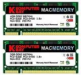 Komputerbay J26 Macmemory Arbeitsspeicher 6GB Kit (4GB und 2GB Module, PC2-5300, 667MHz, 200-polig) DDR2-SODIMM für Apple iMac MacBook Pro