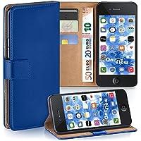 iPhone 4S Hülle Blau mit Karten-Fach [OneFlow 360° Book Klapp-Hülle] Handytasche Kunst-Leder Handyhülle für iPhone 4/4S Case Flip Cover Schutzhülle Tasche