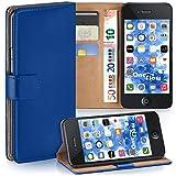 moex iPhone 4S | Hülle Blau mit Karten-Fach 360° Book Klapp-Hülle Handytasche Kunst-Leder Handyhülle für iPhone 4/4S Case Flip Cover Schutzhülle Tasche
