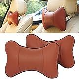 Autosunshine Nackenstütze Kopfstütze Komfortables Kissen Echt Leder Knochenförmig Braun Braun For Bmw With Logo Auto