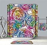 YuLl Farbe Kunst Duschvorhang Badezimmer Wasserdicht Anti-schimmel Vorhänge Vorhänge an Den Fenstern mit 12 Haken 100% Polyester W180*H 200cm (71 x 79 Zoll