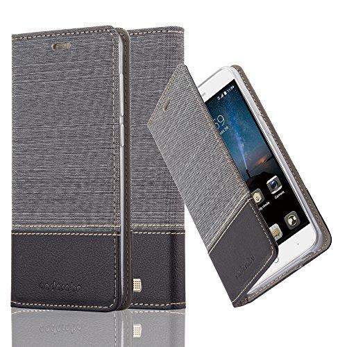 Cadorabo Hülle für ZTE Blade A612 - Hülle in GRAU SCHWARZ – Handyhülle mit Standfunktion und Kartenfach im Stoff Design - Case Cover Schutzhülle Etui Tasche Book
