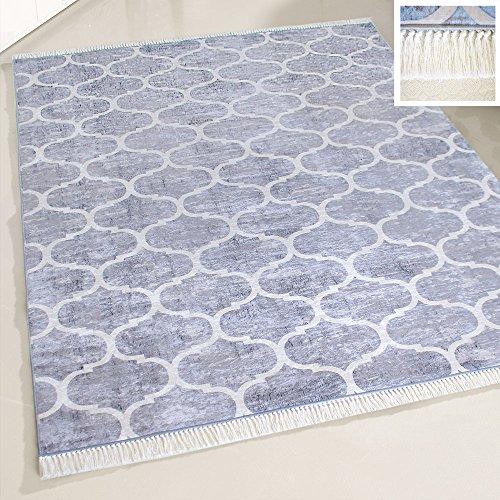 mynes Home Waschbarer Teppich Grau Weiß marrokanisches Design mit Anti-Rutsch Rücken Fransenteppich meliert für Küche & Bad Wohnzimmer Modern (160cm x 230cm)