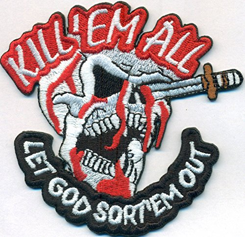 Kill Em All Let God Sort em Out Death Head Totenkopf Messer Aufnäher Patch Abzeichen (Death Head Patch)