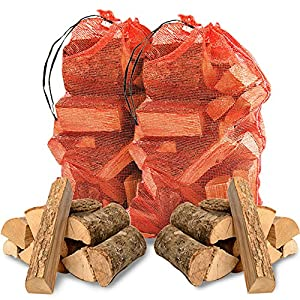 THE LOG HUT® 30kg of Quality Hardwood ASH Kiln Dried Wooden Logs - Coal Alternative Fuel for Hotter Burning Fires. Moisture Reduced to Only 20% - Comes with THE LOG HUT® Woven Sack.