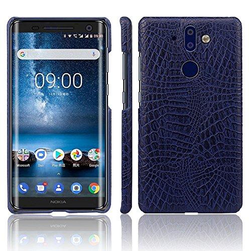 für Nokia 9 PureView, luxuriös, klassisches Krokodilleder-Muster, ultradünn, PU-Leder, Kratzfest, PC Schutzhülle für Nokia 9 PureView, blau ()