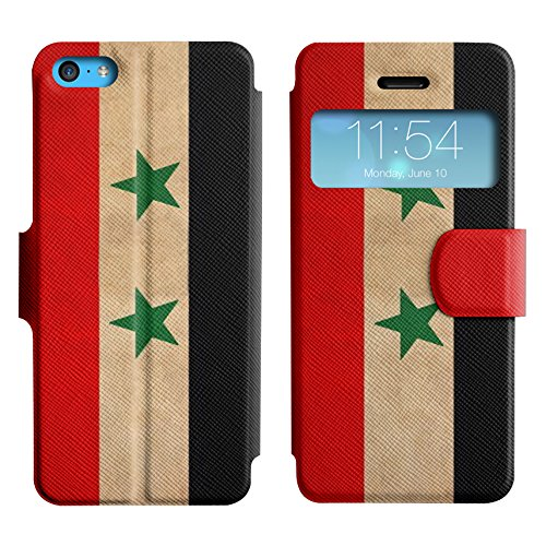 Graphic4You Vintage Uralt Flagge Von Iraker Irak Design Leder Schützende Display-Klappe Brieftasche Hülle Case Tasche Schutzhülle für Apple iPhone 5C Syrien Syrer