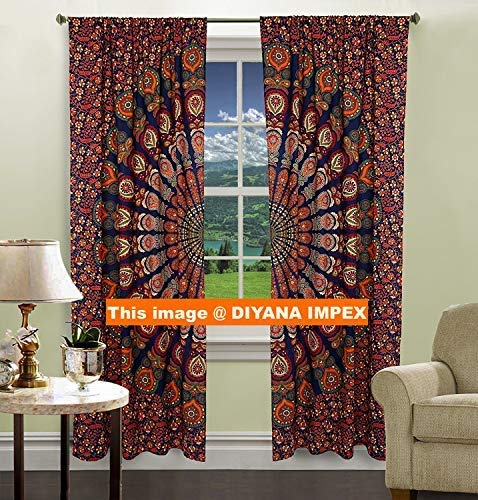 Mandala Indian cotton peacock hippie Tapestry Door